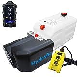 Hydraulikaggregat HYDRAF, Hydraulikpumpe mit 7 Liter Tank und Kabelfernbedienung + Funkfernbedienung, Funk, 12V 180 bar 2000 Watt (1 x Funkfernbedienung)