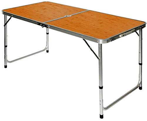 AMANKA Campingtisch 120x60cm - Alu Klapptisch Picknicktisch faltbar höhenverstallbar Bambus-Optik