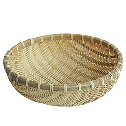 Cabilock Cesta de Mimbre de Bambú Hecha a Mano Cesta de Mimbre de Bambú Bandeja de Almacenamiento de Alimentos Tazones de Cocina Organizador de Aperitivos Cesta de Servir de Pan
