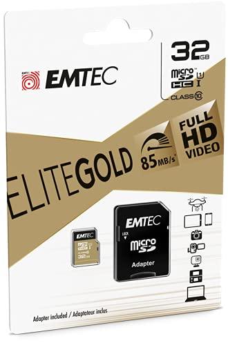 EMTEC ECMSDM32GHC10GP - Carte microSD - Classe 10 - Gamme Elite Gold - UHS-I U1 - Avec adaptateur Performance - Vitesse de lecture jusqu'à 85MB/s -Noir/Or - 32 Gb