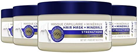 Dove Hair Mask + Minerals, Strengthening Hair Mask for Damaged Hair, 4 Count
