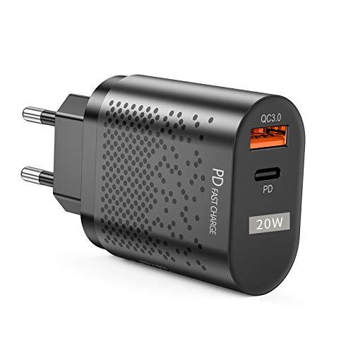 QueenDer Quick Charge 3.0 USB Type C PD 2 Puertos Cargador de Red 20W Cargador Móvil para iPhone Samsung Android Smartphones Tablet y Otros (Black)