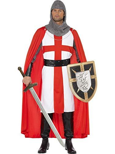 Halloweenia - Herren Männer St. George Helden Ritter Kostüm mit Tunika, Umhang, Kopfbedeckung, Stulpen und Gürtel, perfekt für Karneval, Fasching und Fastnacht, M, Rot