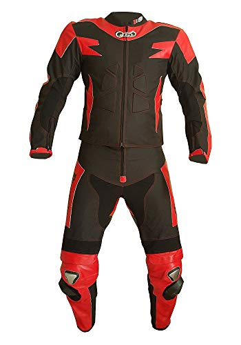 BIESSE - Tuta da MOTO per adulto in pelle e tessuto, divisibile in 2 pezzi giacca e pantalone, regolabile, colore Nero/Rosso, Taglie XS - 4XL, completa di protezioni CE (nero/rosso, 3XL)