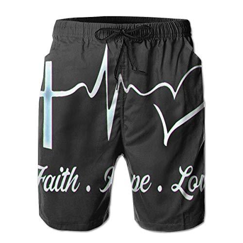 OKIJH Herren Badebekleidung Shorts Höschen Strandhose Fünf-Viertel-Hose Beach Shorts Faith Hope Love Fashionable Man Quick Dry Trunks Boardshorts Beach Shorts