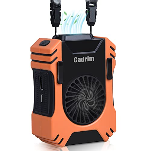 Cadrim Waist Fan, Portable Personal Fan, USB Mini Necklace Fan, Rechargeable Battery Operated Fan, 8000RPM Strong Airflow for Outdoor Camping with LED SOS Function