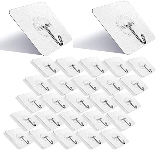 DSMY Set of 27 Self Adhesive Hooks , 180° Rotating Heavy Duty Wall Hooks Transparent Reusable Seamless Hooks 304 Stainless Hook, Oilproof Waterproof Hooks for Kitchen Bathroom Cabinet