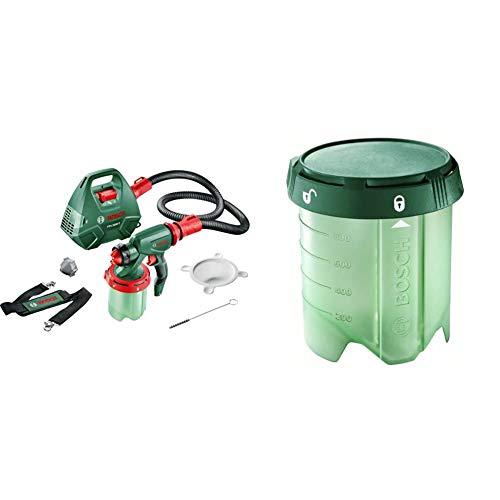 Bosch DIY Farbsprühsystem PFS 3000-2, Farbbehälter 1000 ml, Düse für Lacke und Lasuren (grau)/ Wandfarbe (weiß), Schultergurt, Farbfilter, Reinigungsbürste, Karton (650 W, 300 ml/min, 2m²/min)