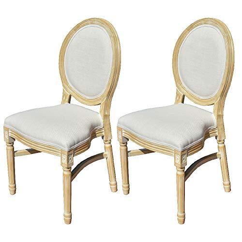 EME Sedia Medaglione stile Luigi XVI in legno di betulla massiccio, con 2 sedie, schienale in tessuto lino beige, seduta imbottita in lino beige, impilabile.