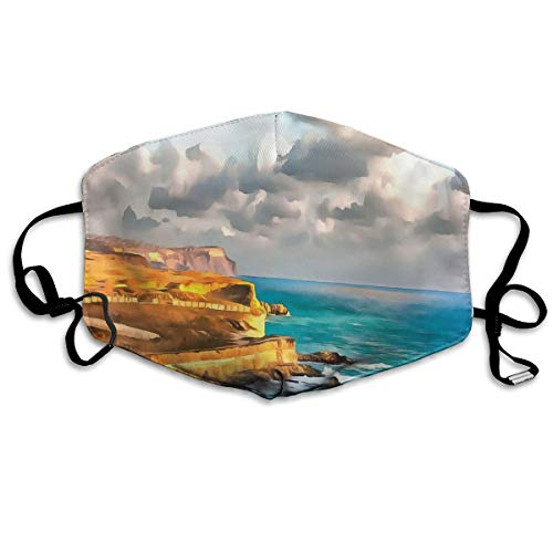 Digitale Schilderij Van Rocky Kust Zee En Bewolkte Dramatische Hemel Panorama PrintPrinting Veiligheid Mond Cover voor Volwassenen