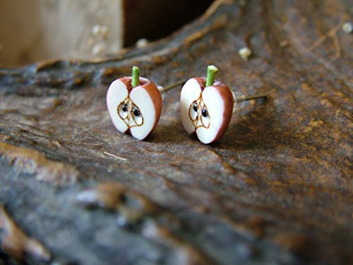 Carved bone Apple earrings,Miniatures Food Fruit,Handmade,Nature Botanical,forbidden fruit,Tiny...