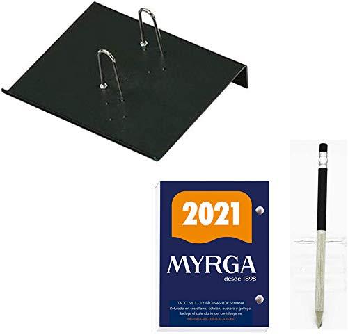 Lote de 1 Porta-calendarios (soporte) FAIBO y 1 bloc taco calendario MYRGA sobremesa escritorio año 2021 650 páginas - Fin de semana / 1 Página + 1 Portaminas Inoxcrom