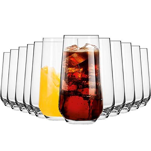 Krosno Vasos de Agua Jugo Highball | Conjunto de 12 Piezas | 480 ML | Splendour Collection Uso en Casa, Restaurante y en Fiestas | Apto para Microondas y Lavavajillas