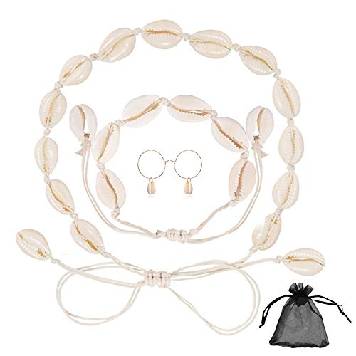 Sea Shell Choker Bracelet Earring Set, 1 Pcs Adjustable Fashion Cowry Necklace 1 Pcs Sea Shell Bracelet 1 Pair Cowrie Shell Earrings for Women Party Beach Birthday Dancing