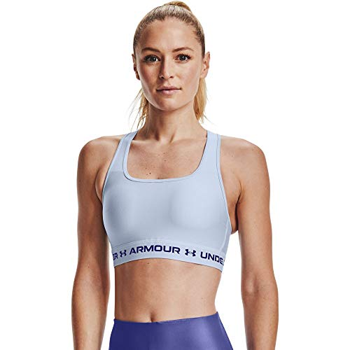 Under Armour UA Crossback Mid Bra, atmungsaktiver Sport BH, komfortabler BH mit Kreuzträgern Damen, Isotope Blue / Isotope Blue / Regal , M