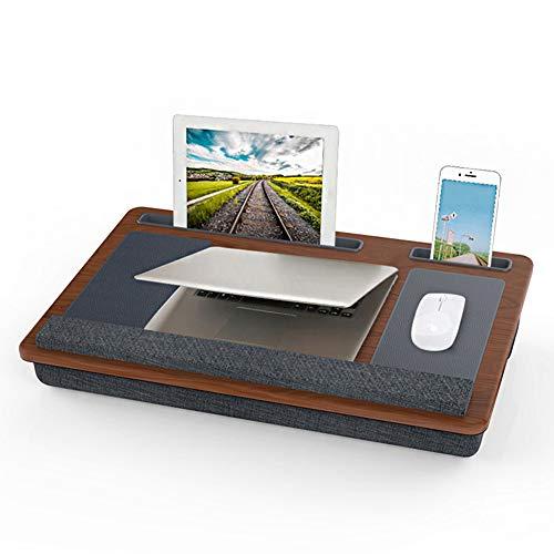 Vassoio per Laptop, Comodino per Laptop, Supporto per Laptop per Scrivania, Vassoio per Laptop con Cuscino con Tappetino per Mouse e Polsino per Divano Letto,Marrone