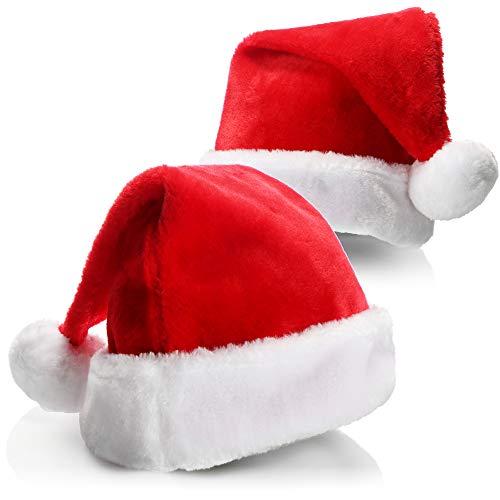 com-four 2X Sombrero de Navidad X-Mas Sombrero de Papá Noel Gorro de Navidad de Felpa de Papá Noel (02 Piezas - Sombrero con Borde de Felpa)
