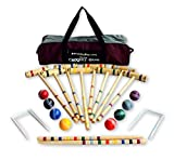 8-Player Deluxe Amish-Crafted Croquet Game Set with Carry Bag (Four...