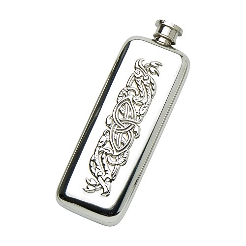 Edwin Blyde & Co Spirit Flask – Plain Boot Design with Traditional Celtic Serpent Embossing and Soft Corner Shape, 3 oz, Pewter, 16 x 6 x 3 cm