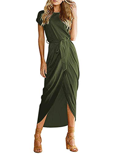 Qearal Women Wrap Maxi Dress Short Sleeve Plain High Slit Bodycon Long Dress Army Green L
