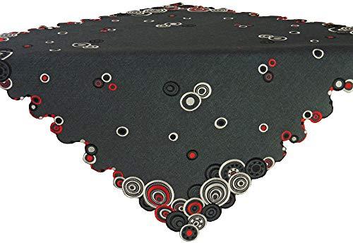 Laura S Mitteldecke Tischband Kissenbezug erhältlich. Rot Schwarz Ecru Gestickt auf Anthrazit Leinenoptik. Pflegeleichter Stoff 100% Polyester .Ausgewählte Größe jetzt (ca. 85 cm x 85 cm)