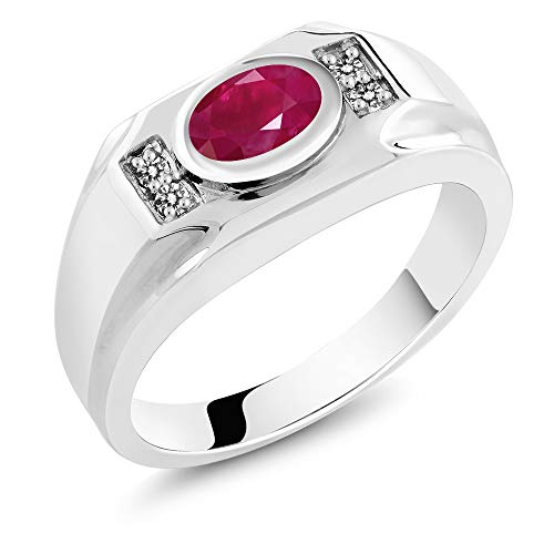 Gem Stone King 2.02 Ct Oval Red Ruby & White Diamond 925 Sterling Silver Men's Ring (Size 7)