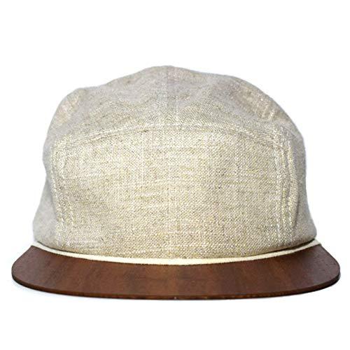 Unisex Cap Made in Germany - Leinen Cap beige mit edlem Holzschild - Sommercap
