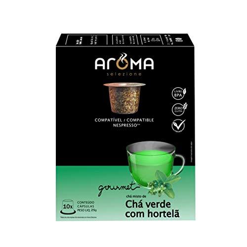 Cápsulas de Chá Verde com Hortelã Aroma Selezione, Compatível com Nespresso, Contém 10 Cápsulas
