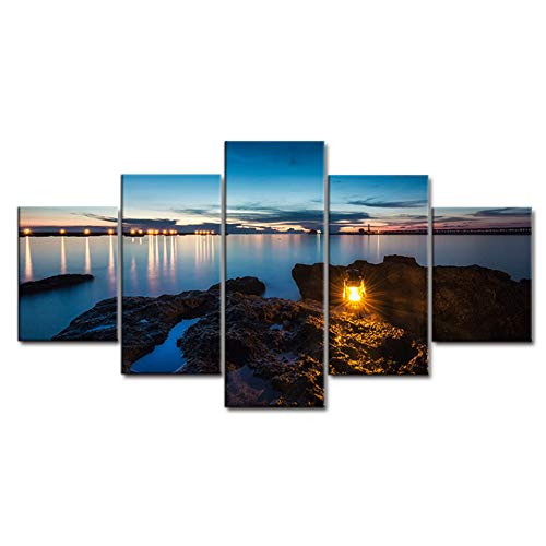 LPHMMD 5 stuks canvas schilderij woonkamer HD gedrukt muurkunst schilderij 5 stuks schemering zee camping lamp moderne decoratie poster