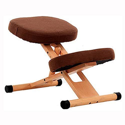 AFTIU Kniestuhl aus Holz für zu Hause, Höhenverstellbarer Ergonomischer Kneeling Chair zur Linderung von Rücken- und Nackenschmerzen, Verhinderung von Myopie, für Computer und Büro,Braun