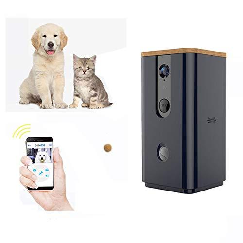 Full Hd W-lan Clever Haustierkamera Zwei-Wege Audiokommunikation entwickelt mit Nachtsicht Hundebehandlungsspender Überwachen Sie Ihr Haustier aus der Ferne für Hunde und Katzen(Color:schwarz)