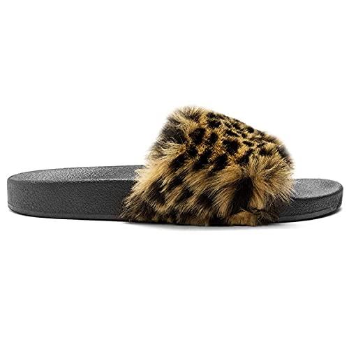 Charles Albert Women's Vegan Fur Slides, Fuzzy Slides, Faux Furry Flip Flops, Leopard, 7