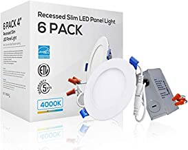 TORCHSTAR Basic Series 4 Inch 10W Dimmable Slim LED Downlight with J-Box, 80W Eqv. Recessed Ceiling Light, 650lm, ETL & Energy Star Low Profile Light, 4000K Cool White, 5 Years Warranty, Pack of 6