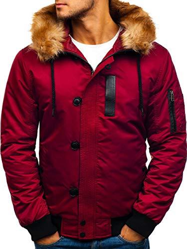 BOLF Herren Winterjacke Steppjacke Sportjacke Kapuze Fell Zip Casual Style Extreme 1826 Weinrot L [4D4]