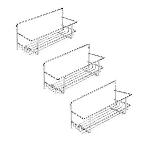 Emuca - Support à épices pour meubles de cuisine, étagères murales pour pots à épices, 3 étagères, acier, chrome.