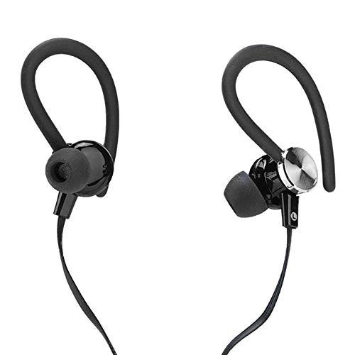 ASHATA Sport-Kopfhörer, universelles 3,5-mm-Sport-In-Ear-Headset mit Kabel, schweißhemmender Stereo-Ohrhörer, moderater Bass und klarer Anruf(Schwarz)