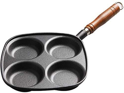 ZXL 24,5 cm 4-Holes Gietijzeren Ei Koekenpan, Nonstick Omelet Pan voor Gas, Inductie Elektrische kookplaat