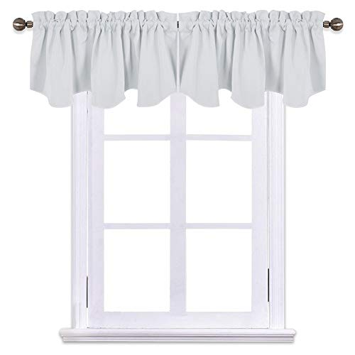 NICETOWN Room Darkening Cafe Curtains - Greyish White 52 inches by 18 inches Pole Pocket Draperies Valance Curtains for Bedroom/Hotel/House/Living Room/Bay Window, Platinum, 1 Pair