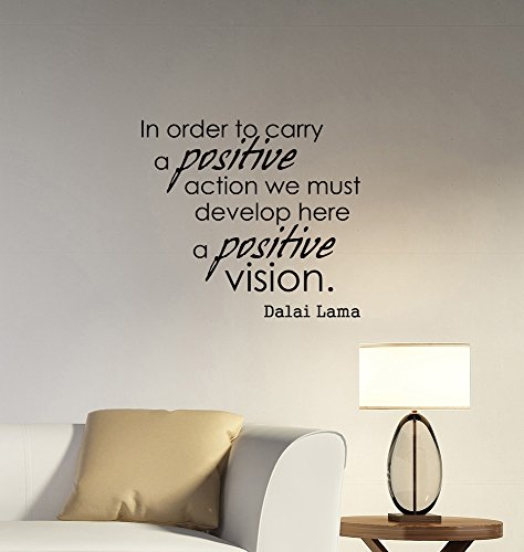Positive Vision Dalai Lama Inspirational Quote Wall Decal Vinyl Lettering Buddhist Motivational Saying Sticker Religious Art Decorations for Home Room Bedroom Office Decor lq1