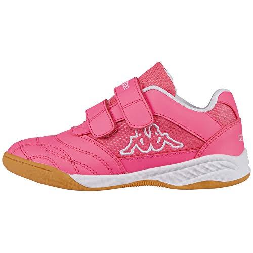 Kappa Mädchen Turn-Schuhe Kick-Off | Sneaker für Kinder mit Klettverschluss | Helle Sohle, Ideal für Hallen Sport wie Fußball, Handball oder Tennis | Pink (2210 Pink/White), Größe 26 EU