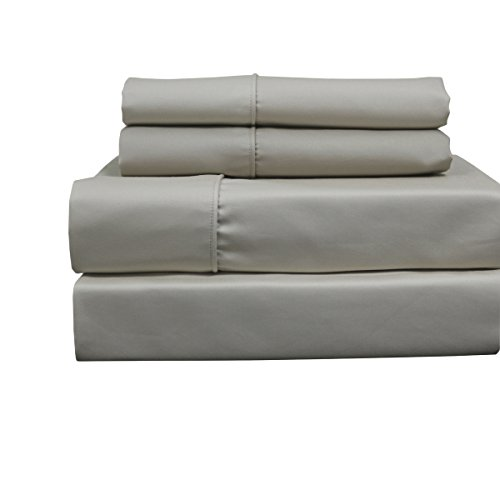 Solid Linen Top Split King: Adjustable King Bed Size Sheets, 4PC Bed Sheet Set, 100% Cotton, 650 Thread Count, Sateen Solid, Deep Pocket