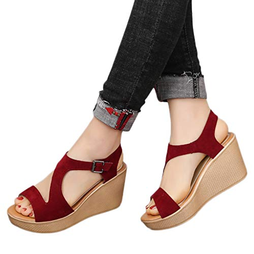 Hosamtel Wedges Shoes for Women Sandals Summer Open Toe Breathable Beach Sandals Slip-On Straw Casual Wedges Shoes