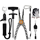 Fishing Tackle Kit 5 in 1 Combo Muti-Function Fishing Accessories Set Including Fishing Pliers Hook Remover Fishing Line Clamp Protective Gloves Fish Gripper for Freshwater and Saltwater Fishing