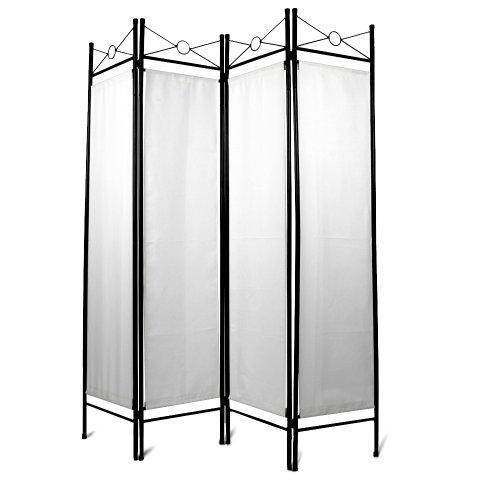 Miadomodo Paravento separè divisorio per soggiorno camera da letto 4 pannelli ca. 180 x 160 cm colore bianco set da 1