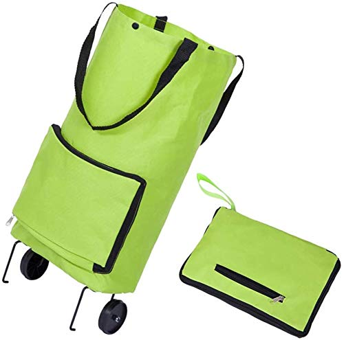 Folding Shopping Bag with Wheels, Lightweight Large Capacity Reusable Supermarket Collapsible Trolley Bags
