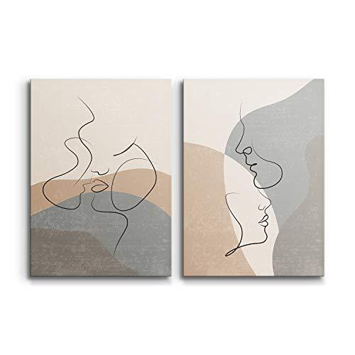 DON LETRA Juego de 2 Cuadros en Lienzo, Pareja Arte Abstracto, 60 x 40 x 2 cm (2 Piezas), Cuadros Modernos para Decoración de Salón y Dormitorio, 100% Políester, Bastidor de Madera, LZ-009