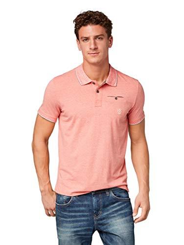 TOM TAILOR GmbH TOM TAILOR Herren Halbarm farblich abgesetztem Kragen und Kleiner Brusttasche Poloshirt, Rot (Plain Red 4481), Medium