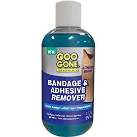 Goo Gone Bandage Adhesive Remover For Skin - 8 Ounce 1 Alcohol Free, Sting Free (Alcohol is irritating & can burn open wounds) Painlessly removes tapes and adhesives from skin and hair Works great on adhesive bandages, sports tape, temporary tattoos, ink, marker and more