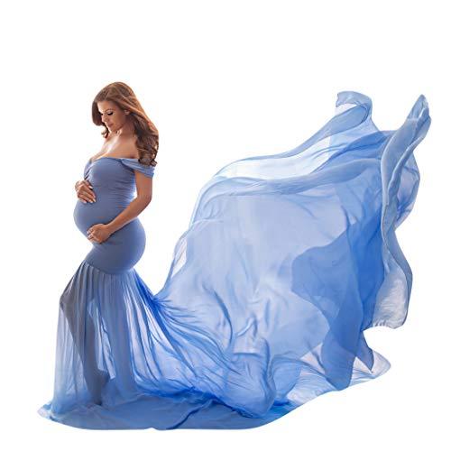 SO-buts Mujeres Embarazadas Atrezzo Fotografía Hombro Sin Mangas Falda Grande Dobladillo Maternidad Color Sólido Trapear Vestido Largo (Cielo Azul,Free Size)