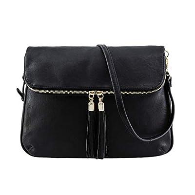 EMPERIA Selma Vegan Leather Medium Messenger Bag Fashion Crossbody Shoulder Bag for Women Black